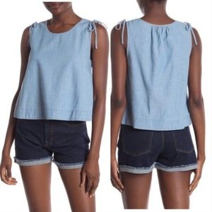 Madewell Crop Swing Chambray Sleeveless Top Large